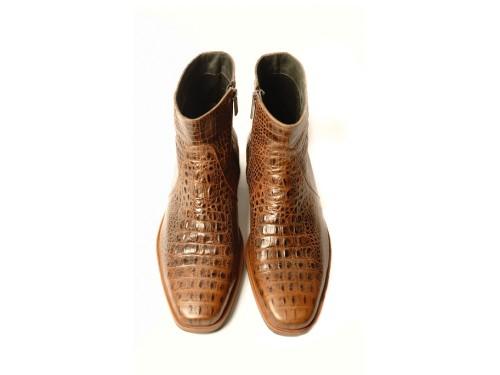 Ботинки демисезонные мужские кожаные тисненые под крокодила